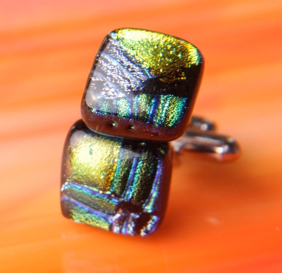 Handmade DICHROIC Fused Glass and Silver Cufflinks Cuff Links