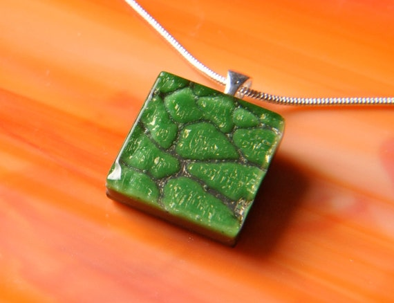 Handmade Dichroic Fused Glass Pendant with Necklace