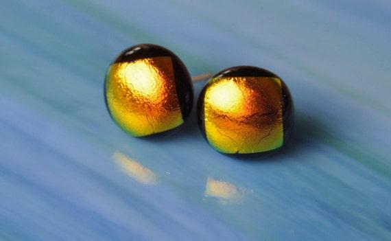 Handmade Dichroic Glass Earrings Studs