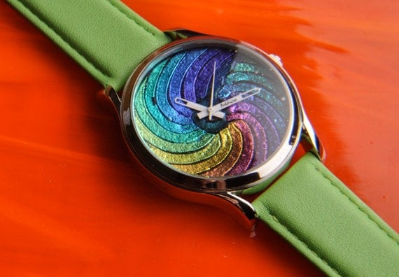 Handmade Dichroic Fused Glass Watch ...free gift...