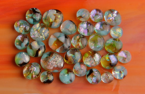 Handmade Dichroic Fused Glass Cabs Cabochons Beads lot of 30