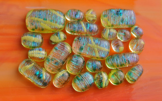 Handmade Dichroic Fused Glass Cabs Cabochons Beads lot of 24