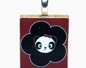 Scrabble Pendant- Red Flower Panda- Buy 3, Get 1 FREE
