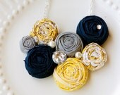 Penelope -  yellow, gray and navy rosette bib statement necklace