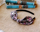 ELLIE - black and pink  vintage floral knotted bow headband