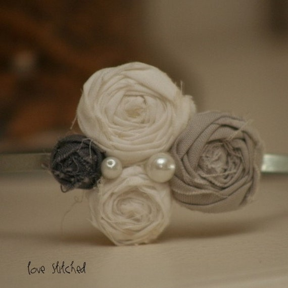 JORDYN - White and Gray Anthro inspired rosette headband / hair piece