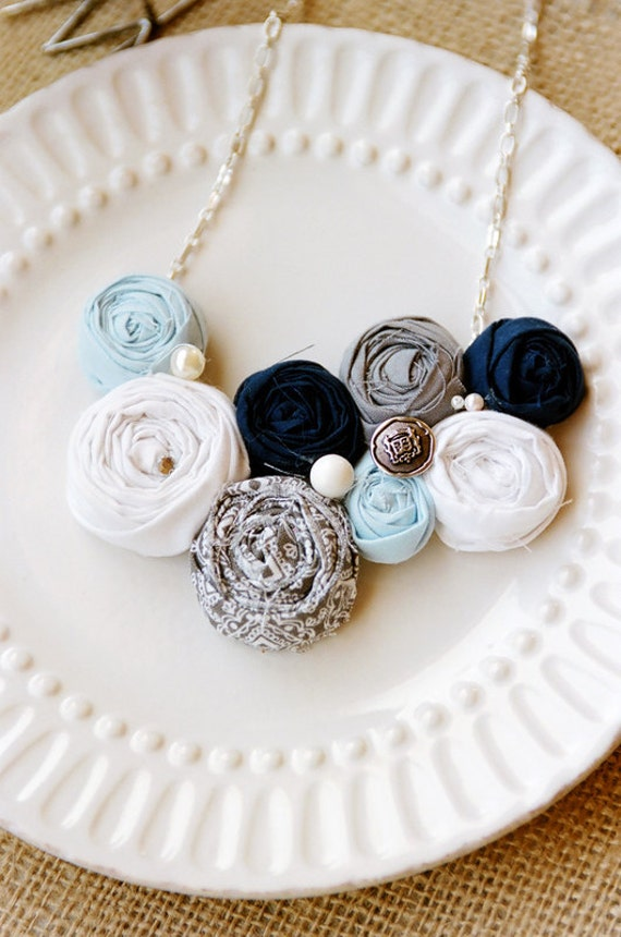 Sail Away With Me -  white, blues, and gray rosette bib statement necklace
