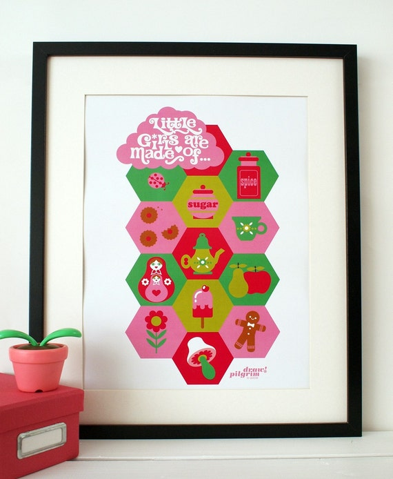 little girls are made of... A3 print poster
