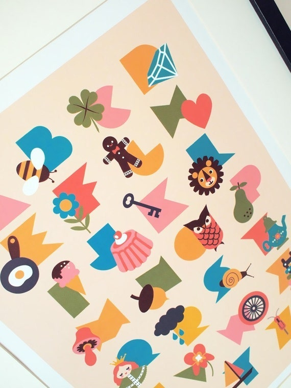 Alphabet poster print, in 'Sundae' colorway