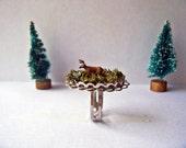 "Miniature Diorama Adjustable Silvertone Ring ""Woodland Deer with Antlers in mossy meadow"" Sample Sale"