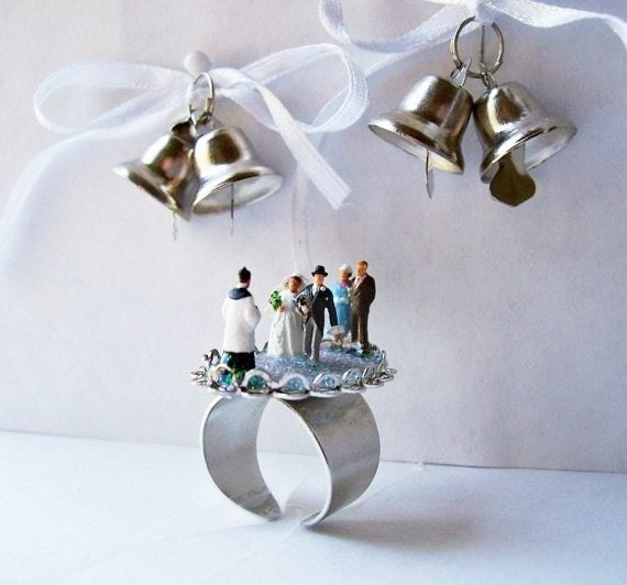 "Adjustable Silvertone Diorama Ring ""The Wedding"""