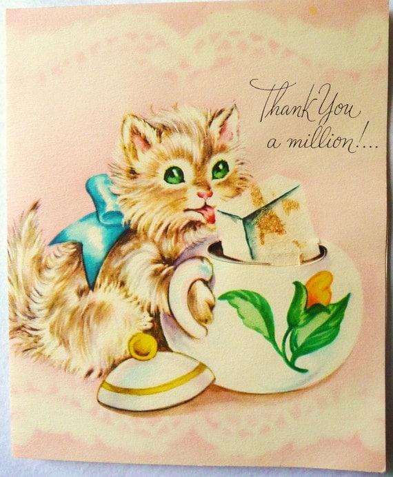 ORIGINAL VINTAGE THANK YOU GREETING CARD By SavannahSmilesShop