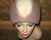 Vintage Taupe Doeskin Cloche Helmet Style Hat with Two Large Plume Feathers in Ivory and Mauve.