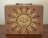Vintage Rare 1967 Enid Collins Fiesta Del Sol Large Wooden Rectangular Box Bag. Hand Painted Smiling Sun Adorned with Golden Yellow Jewels and Gold Rick Rack. FREE SHIPPING