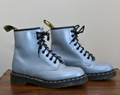 Vintage 1980s Iridescent Silver Space Oddity Doc/Dr Marten 8 Eye Lace-Up Combat Boots. UK Size 6 / US Size 8-8.5
