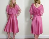 Vintage 70s Pink Bubblegum Semi-Sheer Dancing Queen Disco Dress. Size Small/Medium. Perfect for DATE NIGHT.