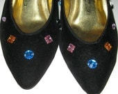 Vintage Razzle Dazzle 80s Black Velvet and Multi-Colored Jeweled High Heels. Size 7-7.5