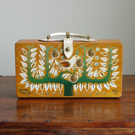 Vintage 1964 Signed Enid Collins of Texas Money Tree X  Wood Box Bag with White Coated Leather and Brass Turn Lock. Copyright ec