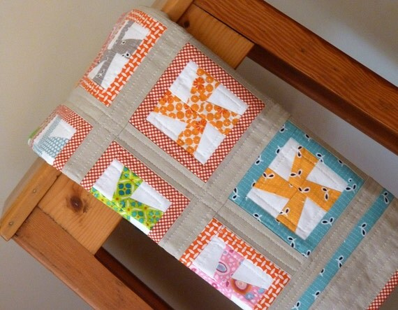 SALE SALE SALE - Baby Quilt - Mini Pinwheels by Red Pepper Quilts