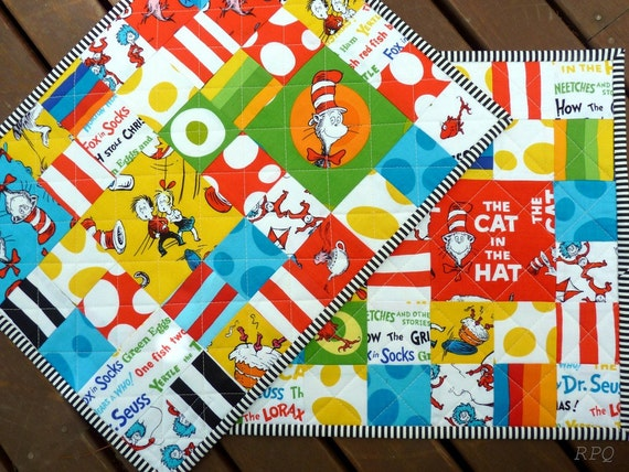 TWO Dr Seuss Placemats by Red Pepper Quilts