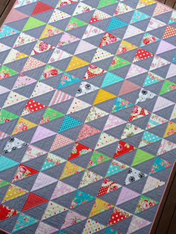 Modern Shabby Chic Quilt  by Red Pepper Quilts