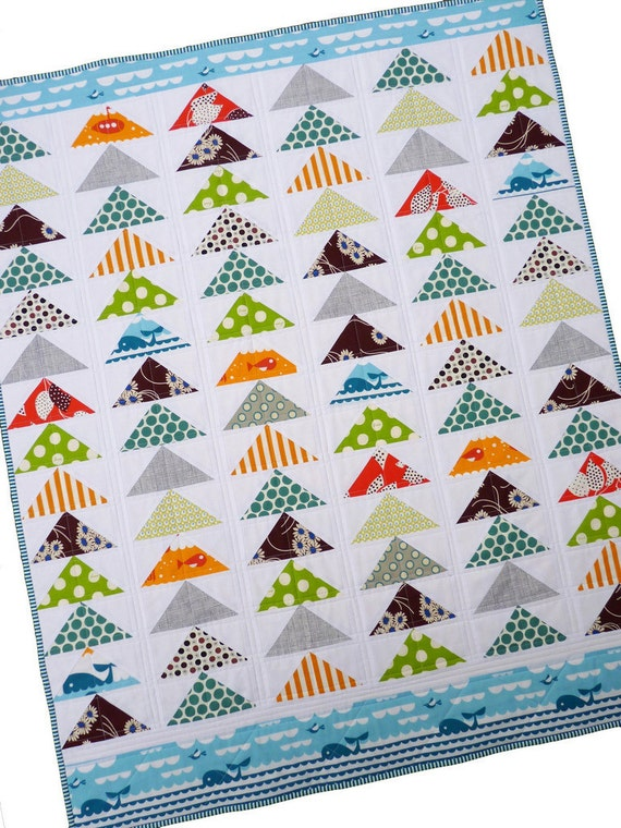 Modern Patchwork Quilt -- Flying Geese -- by Red Pepper Quilts