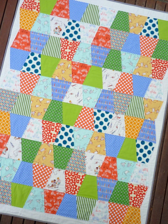 Boys At Play Modern Patchwork Quilt By Red By Redpepperquilts