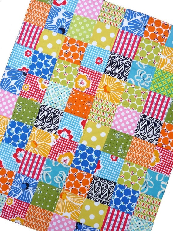 Colorful Patchwork Quilt -- with a Splash of Pink -- by Red Pepper Quilts