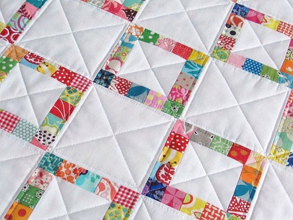 SALE SALE SALE - Pieced Border Scrap Quilt - Modern and Fresh Lap Quilt or Throw