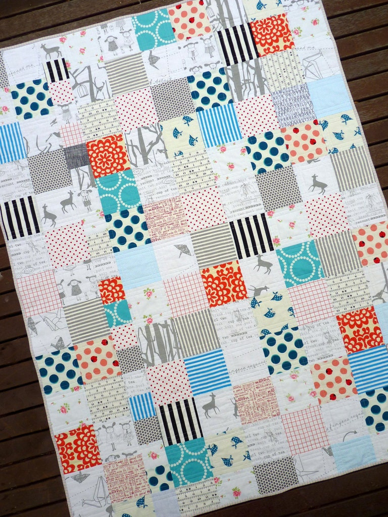 Modern Patchwork Quilt Milk and Cookies by Red Pepper