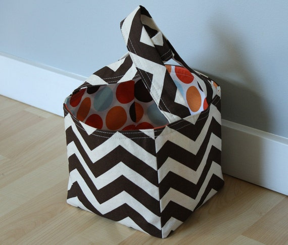 chocolate zigzags. medium fabric bucket.