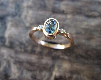 Blue Zircon with Diamonds in 14K Rose Gold