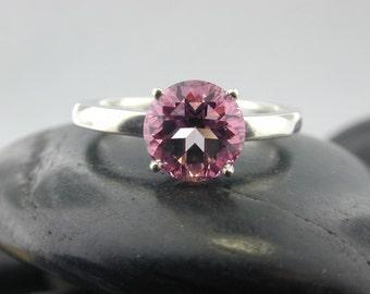 Natural Pink Topaz in Sterling Silver  Fleur de Lis Ring