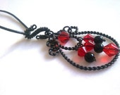 Gothic Lady, Black, Red glass, Steel, Wire, Hand Coiled Necklace