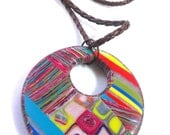 Colorful Fun Patchworked Polymer Clay Pendant with leather cord on Etsy