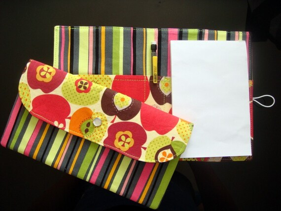GIFT SET - Snap Wallet and List Taker - Apples on Cream/Stripes - Timeless Treasures and Brother Sister fabric