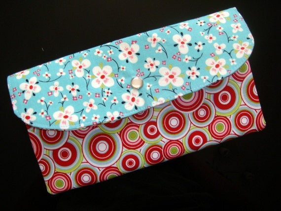 Large Snap Wallet - Farmdale Blossom in Turquoise - Alexander Henry fabric