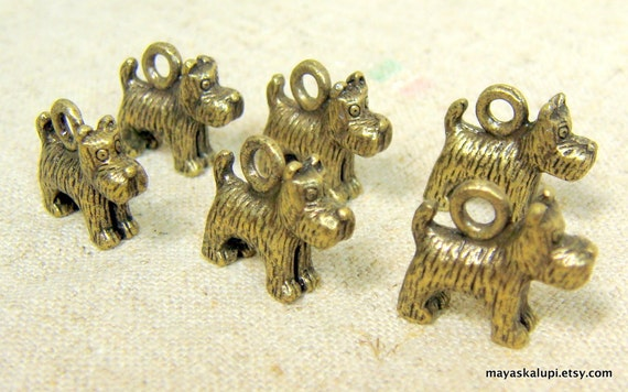 6 Copper Dog Charms . Little 3D Dogs . Findings