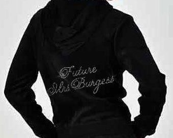 Future Mrs. Rhinestone Bride Velour Hoodie and Pants Set -  Personalized with Future Last Name