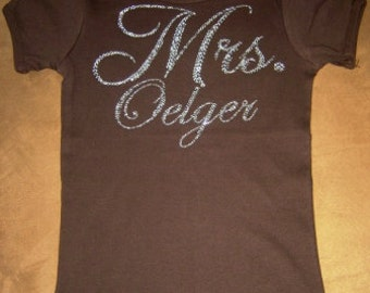 Mrs. Personalized Rhinestone T-Shirt or Tank - For Bride - Great Bridal Shower Gift