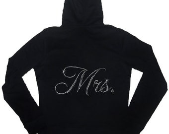 Mrs. Hoodie & Pant Set with Shiny Rhinestones - Bridal Shower Gift