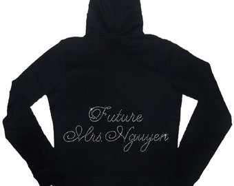 Future Mrs. Rhinestone Bride Cotton Lightweight Hoodie -  Personalized with Future Last Name