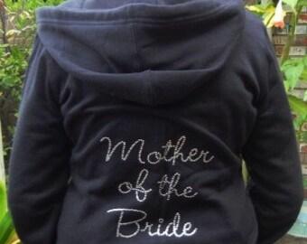 Mother of the Bride Rhinestone Zip Hoodie - Fleece