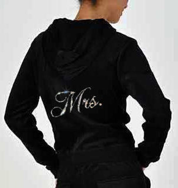 Mrs Rhinestone Bride Velour Hoodie and Pants Set  - Great Bride Gift