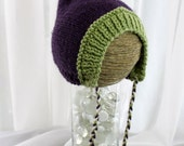 Pixie Hat - Wee Little Pixie Hood - Pea green and Plumb - newborn
