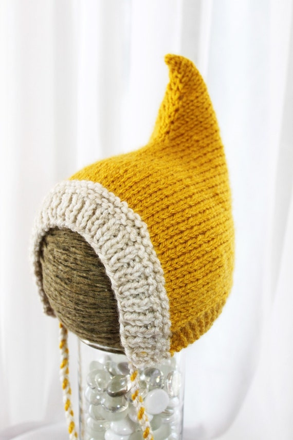 Pixie Hat - Wee Little Pixie Hood - Sunshine Yellow - newborn
