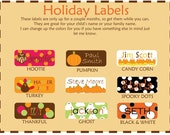 Fall  Dishwasher Safe Labels - 30 labels - Free Shipping