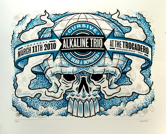 Alkaline Trio at the Trocadero - 2010 - Blue Ink\/White Paper Variant