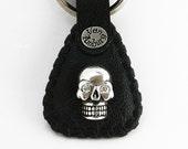 Skull Keychain - Key Fob in Black Elephant
