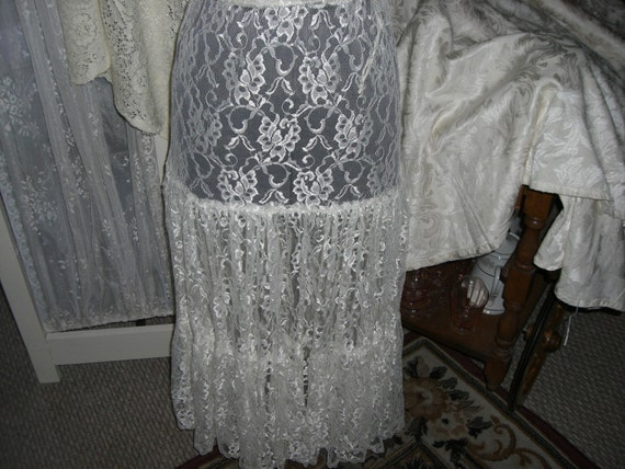 80s Ivory Lace Skirt